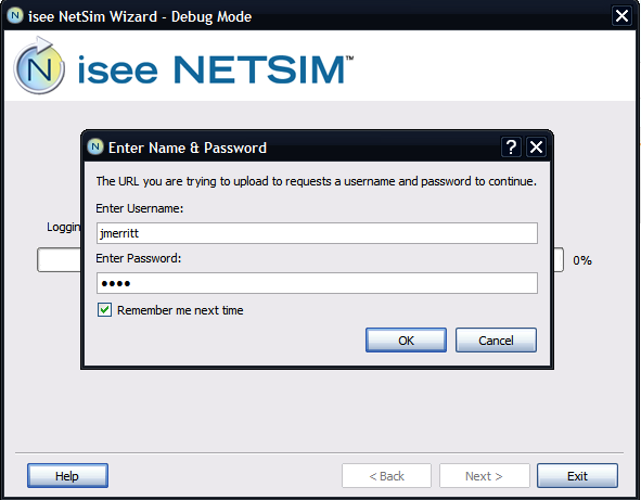 isee NetSim Wizard prompts for credentials
