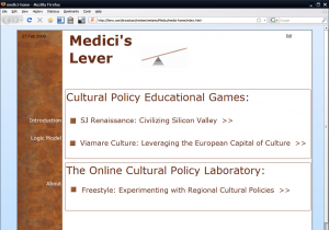 Medici's Lever consists of educational games and a freestyle laboratory that enables users to set game parameters