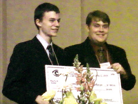 Marcus Robinson and James Ranney accept 2009 Barry Richmond Scholarship Award