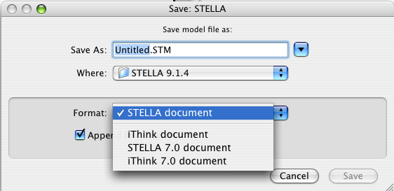 STELLA on Mac save dialog